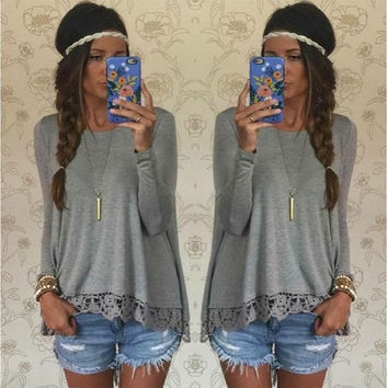 Women Casual Lace Spliced Long-sleeved Irregular Hem T-shirt Blouse = 1841737668