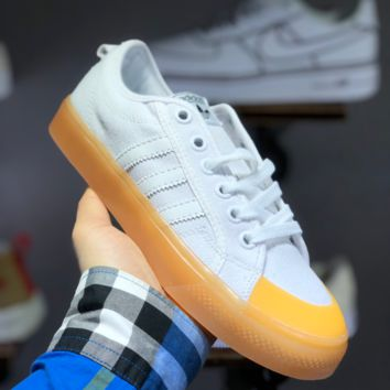 hcxx A1483 Adidas Nizza Blanc Bordeaux LO Campus canvas sneakers with half-cut rubber-covered toe  Whtie Yellow
