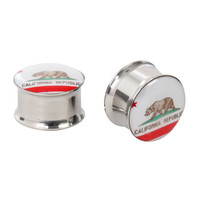 Steel California Flag Saddle Plug 2 Pack
