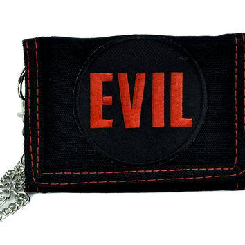 Evil Tri-Fold Wallet with Chain