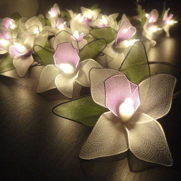 Battery Powered LED 20 Purple-White-Green Orchid Flower Fairy String Lights Wedding Party Floral Home Decor 4m Floor Table or Hanging Gift