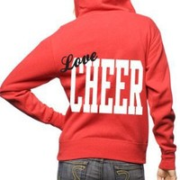 Junior's Cheer Heart Zipper Hoodie-X-Large-Red