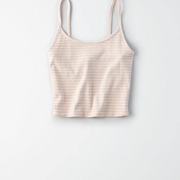 AE Striped Cropped Tank Top, Blush