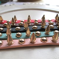 TU Double Layer stacking spikes and studs pu Leather Bracelet wrap - Choose Color