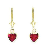 14KT Yellow Gold July Birthstone Ruby Cubic Zirconia Large Heart Drop Leverback Earrings - Measures 24x7mm