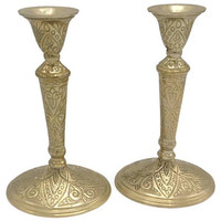 Art Deco Chased Brass Eight Inch Candle Stick Holder Pair