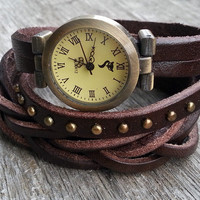 Christmas Gift, Leather Wrist Quaze Watch