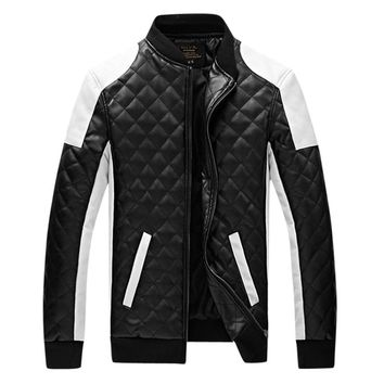 2018 New Design Men's Jacket Winter&Autumn PU Leather Black&White Fashion Slim Plaid Jacket For LEFT ROM Man coats male clothes