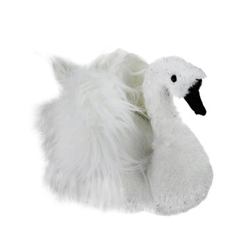 """9"""" Winter's Beauty Sparkling White Swan Christmas Figure Decoration"""