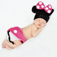 Newborn Minnie Baby Knit Crochet Knitting Cap Cartoon baby Photography Props Hats Handmade0-12months = 1958423108