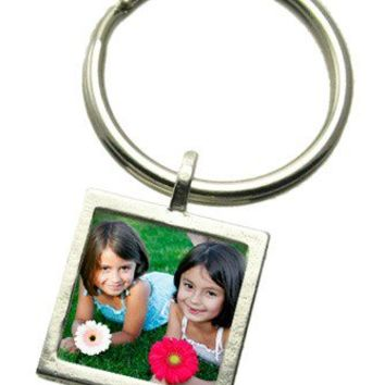 "Photo Key Ring  - Great for Fathers - Sterling Silver and Waterproof - Small Size (1/2"")"