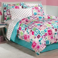 My Room Peace Out Girls Comforter Set With Bedskirt, Teal, Full