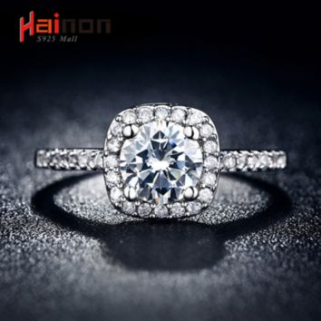 Luxury 100% 925 Sterling Silver Rings for Women Wedding Engagement Acessories Cubic Zirconia Jewelry Big Promotion