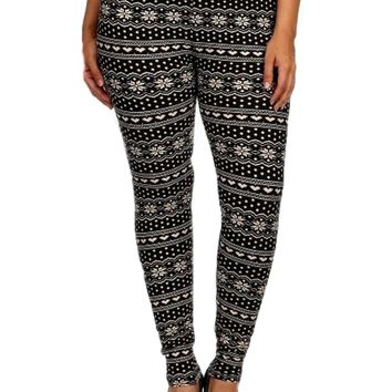 Curvy Snowflake Legging, Black-Cream