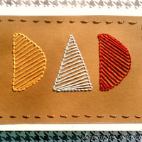 Father's Day Hand Embroidered Card Dad by sleepingfoxstitchery
