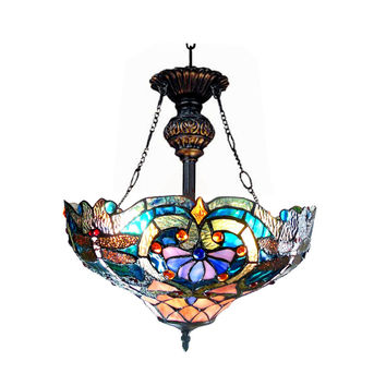 "LYDIATiffany-style 2 Light Victorian Inverted Ceiling Pendant Fixture 17"" Shade"