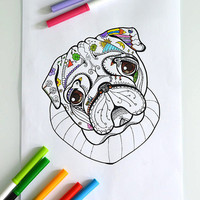 "Digital coloring page with Pug. Printable coloring book page for adult and children, Instant Download 8,5 x 11"" JPG file. Sketch drawing."
