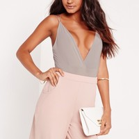 Missguided - cross back bodysuit ice grey