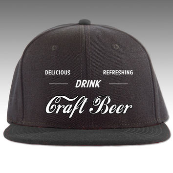 Drink Delicious Refreshing Craft Beer Hat, white text only