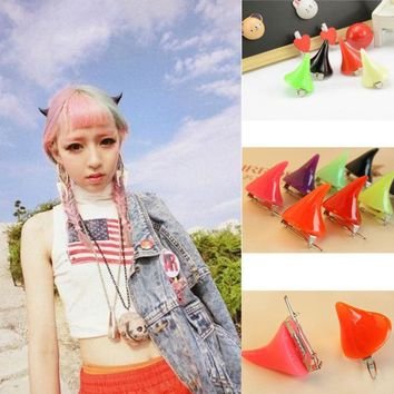 2 pcs Halloween Stereo Devil Horns Ears Hairpins Barrettes Head Jewelry Clip Chic Girl Headband Hairband