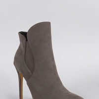 Liliana Curved Top Line Pointy Toe Stiletto Booties