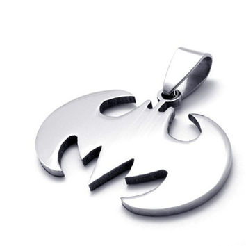Fashion Jewelry Slippy Bat Batman Sign Pendant Stainless Steel Necklaces Leather Chain Unisex Necklace
