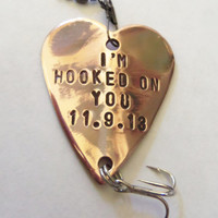 Hooked on You Fishing Lure Custom Men Gift Meaningful Gifts Birthday for Husband Love You for Boyfriend Outdoors Rustic Sports Man Spouse