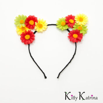 Rasta Cat Ear Headband, Floral Cat Ears, Burning Man Clothing, Beyond Wonderland, Nocturnal Wonderland, Fun Fun Fun Fest, Electric Zoo, PLUR