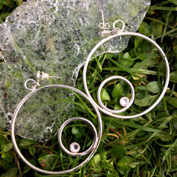 Earrings, Sterling silver with double circle and  Swarovski flatbacks, pierced