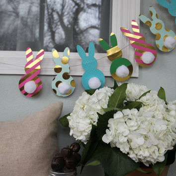 Paper Easter Bunny Garland | Made with Multi-color Patterns and Gold Foil | Easter Bunny with Cotton Ball Tail | Holiday Home Decor