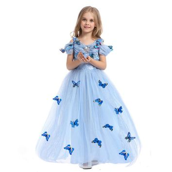 2016 Cinderella Dresses For Girls Blue Princess Party Dress With Butterfly Kids Ball Gown Cosplay Costume High Quality
