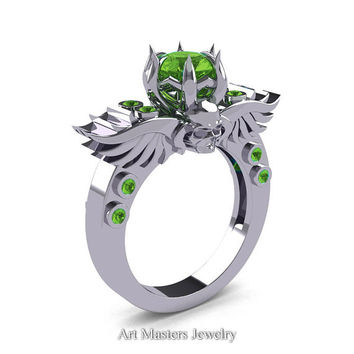 Art Masters Classic Winged Skull 10K White Gold 1.0 Ct Peridot Solitaire Engagement Ring R613-10KWGP