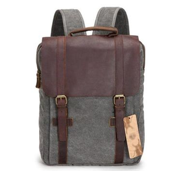 Retro Large Capacity Square Unisex Travel Backpack Satchel Solid Zipper Double Hasp Canvas School Bag