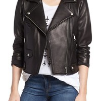 Rebecca Minkoff 'Wes' Perforated Panel Leather Moto Jacket | Nordstrom