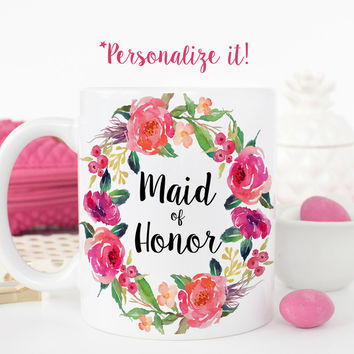 Maid of Honor Mug - Floral Wreath Wedding Gift Mug - W0018-B