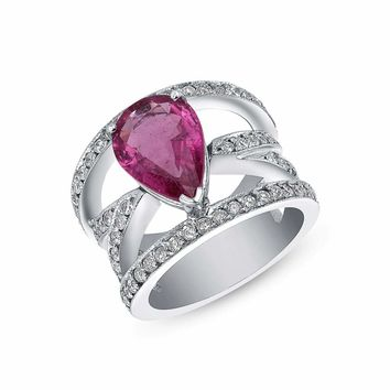Luxinelle Big Pear Shaped Pink Tourmaline And Diamond Ring - 14K White Gold by Luxinelle®Jewelry