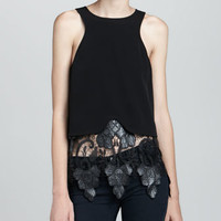 Leather-Lace-Bottom Tank