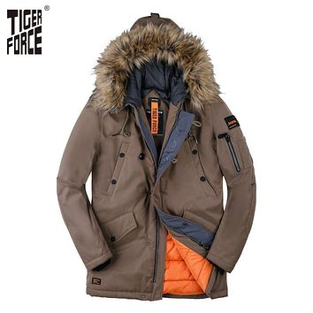 TIGER FORCE 2017 New Collection Men Padded Parka Winter Coat Mens Fashion Jacket Long Thick Parkas Artificial Fur Free Shipping