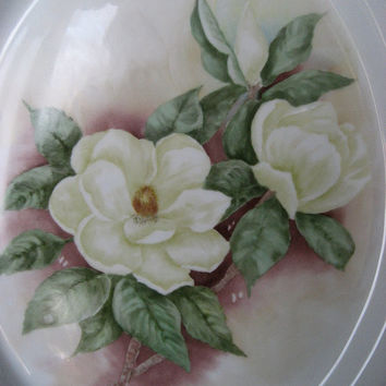 "Magnolia Platter White Flower Porcelain/ceramics/Pottery dinnerware 13"" long, New Year trends, Hand Painted and Kiln fired by B Marsh"