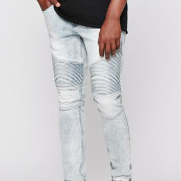 PacSun Stacked Skinny Active Stretch Moto Acid Wash Indigo Jeans at PacSun.com