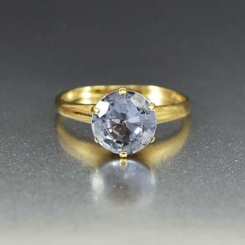 Art Deco 14K Gold Blue Topaz Solitaire Ring