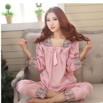 CREYCI7 New Style Women Silk Pajamas Sets 2015 Spring Summer Design Elegant Lace Embroidered Female Satin Pajamas,Red,Green,Dark Pink