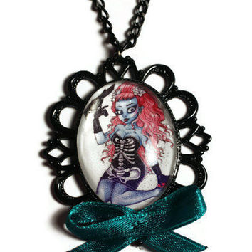 Pin Up ZOMBIE girl necklace by DeathwishDesign on Etsy