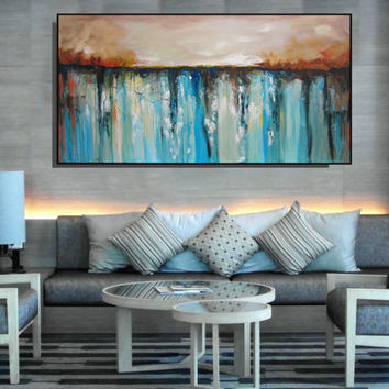 EXTRA Large Wall Art Blue And Beige Brown Abstract Painting Textured Painting Contemporary Art Large Living Room Canvas Art Christovart