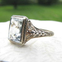 Art Deco Aquamarine Ring, Intricate Filigree with Flowers, approx 1.12 carats, Lovely, Circa 1920s