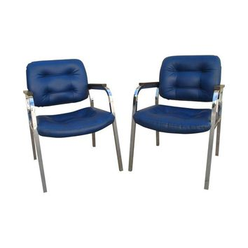 Pre-owned 1960s Milo Baughman Style Chrome Chairs - A Pair