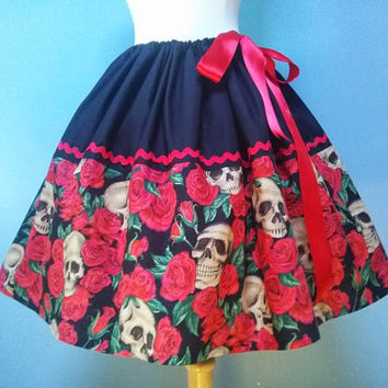 Roses and Skulls Skirt, Beautiful Adjustable Waist Skirt, Fits ALL Sizes, Stunning and Unique