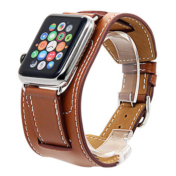 V-MORO Genuine Leather watchbands Cuff Bracelet Leather Wrist Band strap For Apple Watch 38mm 42mm