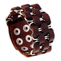 2016 New Fashion Jewelry High Quality Wide Bangle Rivet Alloy Leather Bracelets