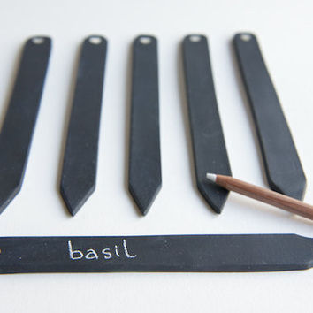 Chalkboard Garden Markers Herb Stakes SET OF 3- Black Stoneware by RossLab, white heart garden decor